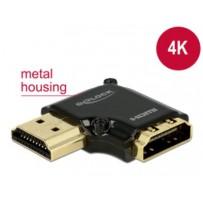 Delock Adaptér High Speed HDMI s Ethernetem – HDMI-A samice - HDMI-A samec 4K 90° pravoúhlý vlevo černý