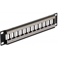 "Delock 10"" Keystone Patch Panel 12 Port metal black"