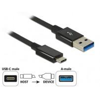 Delock Kabel SuperSpeed USB 10 Gbps (USB 3.1 Gen 2) USB Type-C™ samec - USB Typ-A samec 0,5 m koaxiál černý Premium