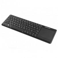 Modecom MC-TPK2 bezdrátová podsvícená multimediální klávesnice s touchpadem, tenký profil, US, USB nano 2,4GHz, černá