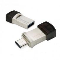 Transcend 64GB JetFlash 890, USB-C/USB 3.1 duální flash disk, malé rozměry, stříbrný kov, odolá prachu i vodě