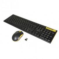 EVOLVEO WK-160, set bezdr. klávesnice a myši, USB, 2,4GHz, CZ/US, černo-žlutý