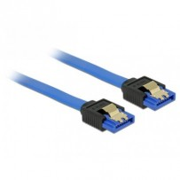 Delock Cable SATA 6 Gb/s receptacle straight - SATA receptacle straight 30 cm blue with gold clips