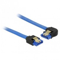 Delock Cable SATA 6 Gb/s receptacle straight - SATA receptacle left angled 30 cm blue with gold clips
