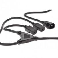 Digitus Napájecí kabel Rozbočovací, C14 - C13 2x, M / F, 1,7m, H05VV-F3G 1.0qmm / 0.75qmm, bl