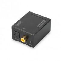 Digitus Převod z digitálního na analogový s kovovým pouzdrem Coaxial/Toslink na BNC (Cinch), napájení 5V / 1A