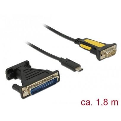 Delock Adaptér USB Type-C™ - 1 x Sériový DB9 RS-232 + Adaptér DB25
