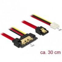 Delock Kabel SATA 6 Gb/s 7 pin samice + Floppy 4 pin napájení samice - SATA 22 pin samice přímý kovový 30 cm