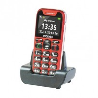 EVOLVEO EasyPhone, mobilní telefon pro seniory s nabíjecím stojánkem (červená barva), snadné ovládání