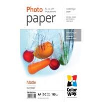 COLORWAY fotopapír/ matte 190g/m2, A4/ 50 kusů