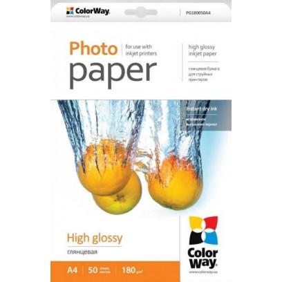 COLORWAY fotopapír/ high glossy 180g/m2, A4/ 50 kusů