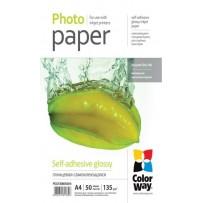 COLORWAY fotopapír/ glossy samolepící 135g/m2, A4/ 50 kusů