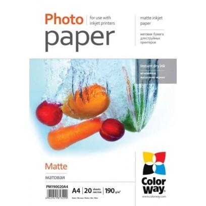 COLORWAY fotopapír/ matte 190g/m2, A4/ 20 kusů