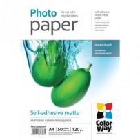 COLORWAY fotopapír/ matte self-adhesive 120g/m2, A4/ 50 kusů
