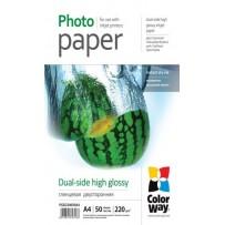 COLORWAY fotopapír/ dual-side high glossy 220g/m2, A4/ 50 kusů