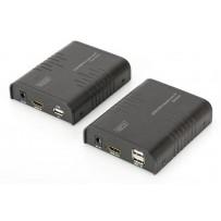 DIGITUS HDMI KVM Extender, 120 m, Full HD, 1080p přes síťový kabel (Cat 5, 5E, 6),