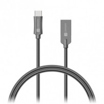 CONNECT IT Wirez Steel Knight USB-C (Type C) - USB-A, metallic anthracite, 2,1A, 1 m