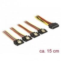 Delock Kabel SATA 15 pin napájecí samec s aretací - SATA 15 pin napájecí samice 4 x přímý 15 cm