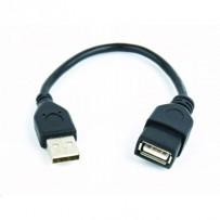 Kabel GEMBIRD USB A-A 15cm 2.0 prodlužovací HQ Black, zlacené kontakty