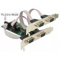 Delock PCI Express Card - 3 x Sériový RS-232 + 1 x TTL 3,3 V / RS-232 s napájením