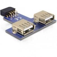 Delock USB pin konektor samice - 2 x USB 2.0 samice - nahoru