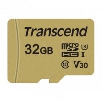 Transcend 32GB microSDHC 500S UHS-I U3 V30 (Class 10) MLC paměťová karta (s adaptérem), 95MB/s R, 60MB/s W