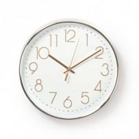 Nedis CLWA015PC30RE - Kulaté Nástěnné Hodiny | Průměr 30 cm | Bílá a Kovová