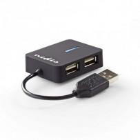 Nedis UHUBU2410BK - Rozbočovač USB | 4 porty | USB 2.0 | Cestovní Velikost