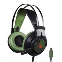 A4tech Bloody J437 herní sluchátka s mikrofonem, 7.1.,7 barev podsvícení, USB, zelená barva