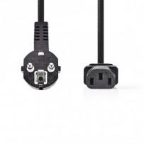 Nedis CEGP10015BK20 - Napájecí Kabel 3 x 1,5 mm2 | Úhlová zástrčka Schuko - IEC-320-C13 | 2 m | Černá barva