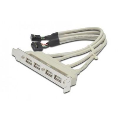 Digitus záslepka slotu s 4 USB porty, kabel 2x 10 Pin 0,25m