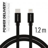 SWISSTEN DATA CABLE USB-C / LIGHTNING TEXTILE 1,2M BLACK