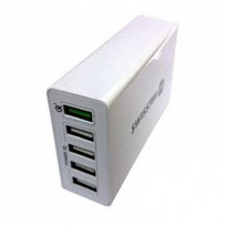 SWISSTEN TRAVEL CHARGER QUALCOMM 3.0 QUICK CHARGE + SMART IC WITH 5x USB 50W POWER WHITE
