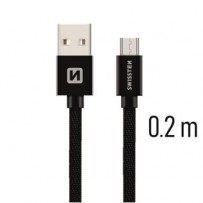 SWISSTEN DATA CABLE USB / MICRO USB TEXTILE 0,2M BLACK