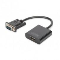 DIGITUS Převodník VGA na HDMI + zvuk (3,5 mm) Full HD (1080p), kabelový typ (15 cm), černý