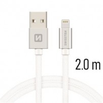 SWISSTEN DATA CABLE USB / LIGHTNING TEXTILE 2,0M SILVER