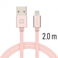 SWISSTEN DATA CABLE USB / LIGHTNING TEXTILE 2,0M PINK