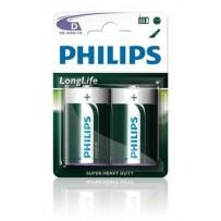 Philips baterie D LongLife zinkochloridová - 2ks, blister