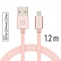 SWISSTEN DATA CABLE USB / LIGHTNING MFi TEXTILE 1,2M PINK