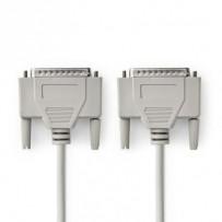 Nedis CCGP52100IV20 - Kabel RS232 | D-Sub 25-pin Zástrčka - D-Sub 25-pin Zástrčka | 2 m | Slonovinová