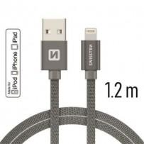 SWISSTEN DATA CABLE USB / LIGHTNING MFi TEXTILE 1,2M GREY
