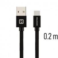 SWISSTEN DATA CABLE USB / USB-C TEXTILE 0,2M BLACK
