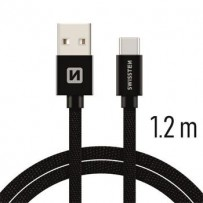 SWISSTEN DATA CABLE USB / USB-C TEXTILE 1,2M BLACK