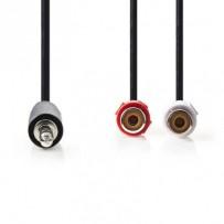 Nedis CAGB22250BK02 - Stereofonní Audio Kabel | 3,5mm Zástrčka - 2x RCA Zásuvka | 0,2 m | Černá barva