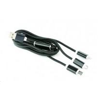 Kabel CABLEXPERT USB A Male/Micro B + Type-C + Lightning, 1,8m, opletený, černý, blister