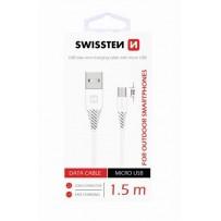 SWISSTEN DATA CABLE USB / MICRO USB 1,5 M BÍLÝ (9mm)