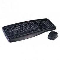 C-TECH klávesnice s myší WLKMC-02, bezdrátový combo set, ERGO, černý, USB, CZ/SK