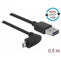 Delock Kabel EASY-USB 2.0 Typ-A samec - EASY-USB 2.0 Typ Micro-B samec pravoúhlý nahoru / dolů 0,5 m černý