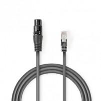 Nedis COTP15710GY03 - Kabel DMX s Adaptérem | XLR 3pinová Zásuvka – RJ45 Zástrčka | 0,3 m | Šedá barva