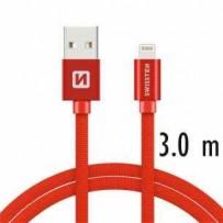 SWISSTEN DATA CABLE USB / LIGHTNING TEXTILE 3,0M RED
